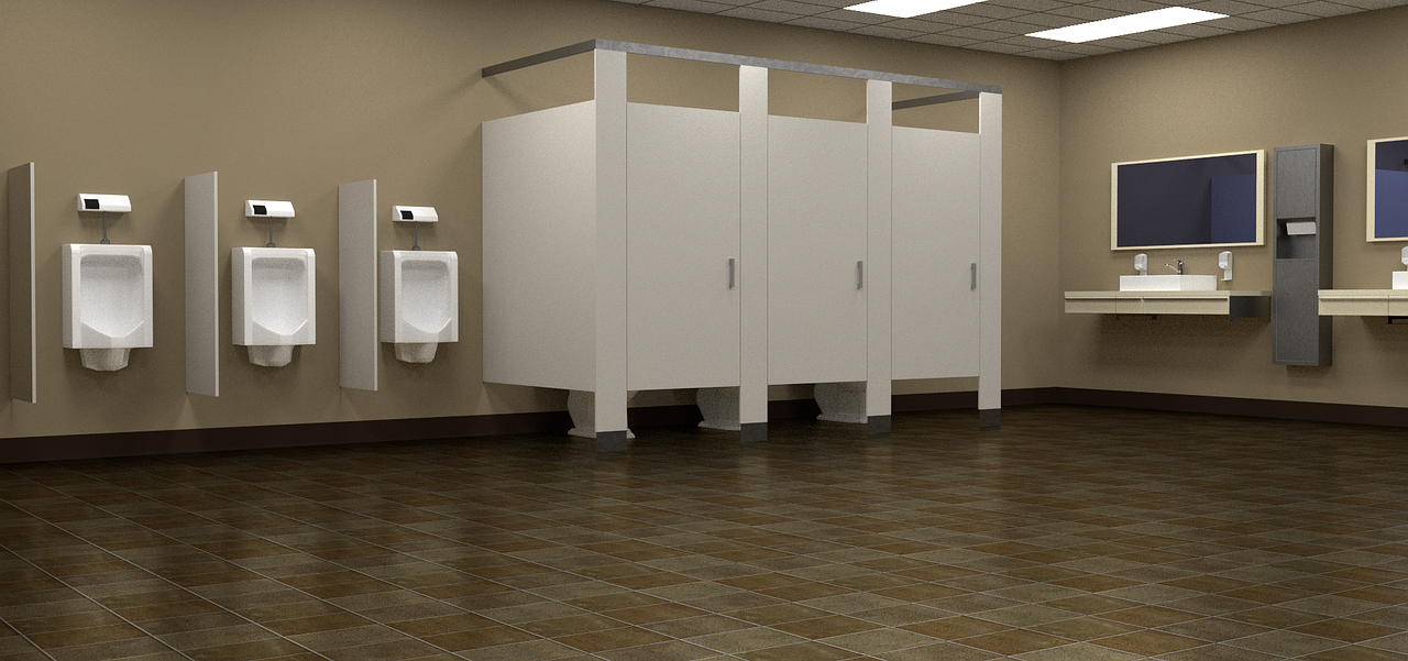 Picture of a clean public bathroom.