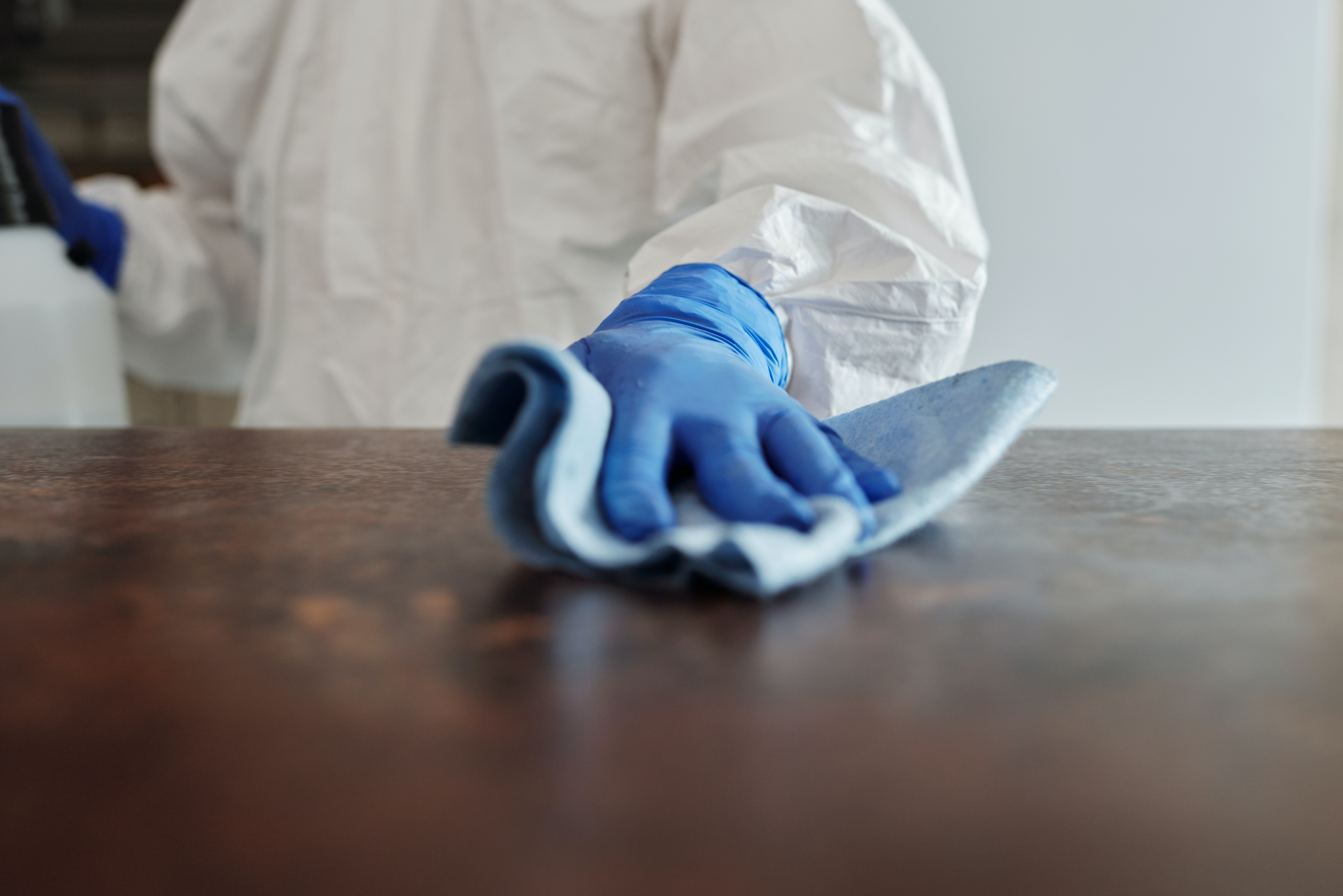 Picture of a person cleaning a counter top.